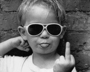 kid giving the finger