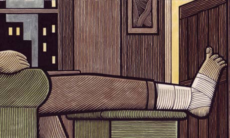 Clifford Harper's illustration of a man resting his bandaged leg