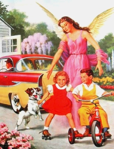 1950s-vintage-postcard-angel-with-children-on-bike-and-dog
