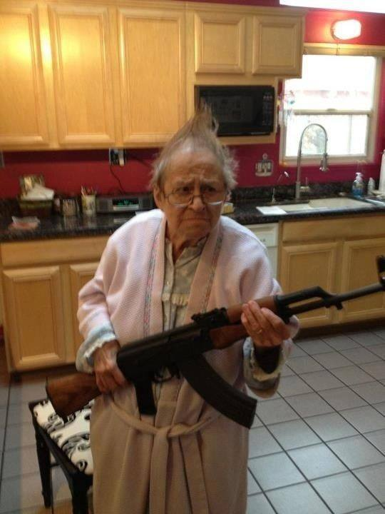 Old Lady with Assault Rifle