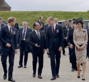 President Francois Hollande along with Britain's Princes Harry and William & Kate the Duchess of Cambridge at the Somme centenary commemorations
